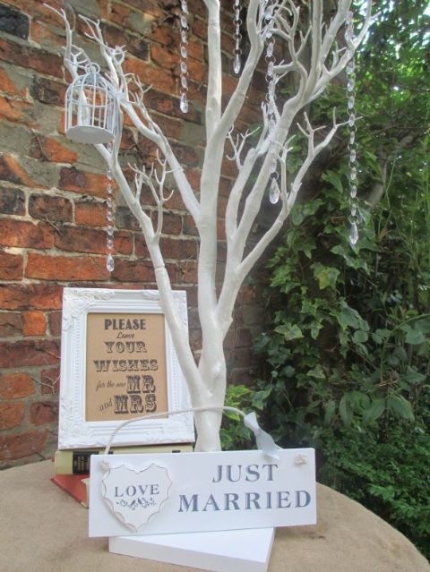 Wedding Wishing Tree Bundle Wish Tree, Framed Sign, Birdcage Decorations, Garland  Droplets & Just Married Sign